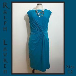 Ralph Lauren Blue Knot Tie Dress 12 Large